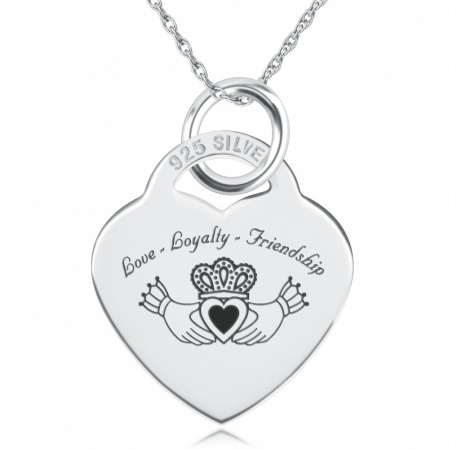 Claddagh Love Loyalty Friendship Heart Shaped Sterling Silver Necklace (can be personalised)