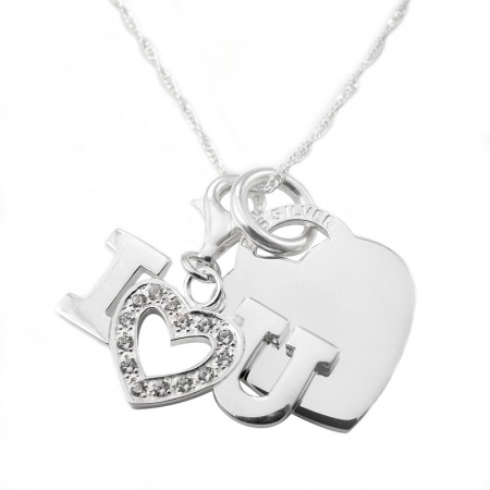 I Love You Cubic Zirconia Sterling Silver Heart Necklace (can be personalised)