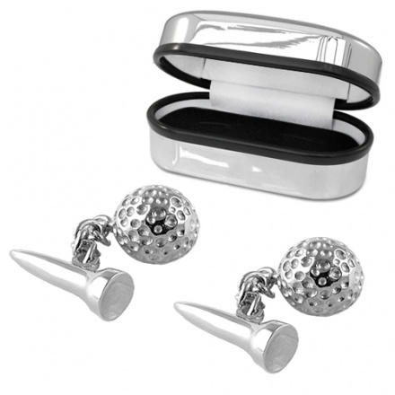 Golf ball and golfing tee sterling silver cufflinks can for Golf buflings