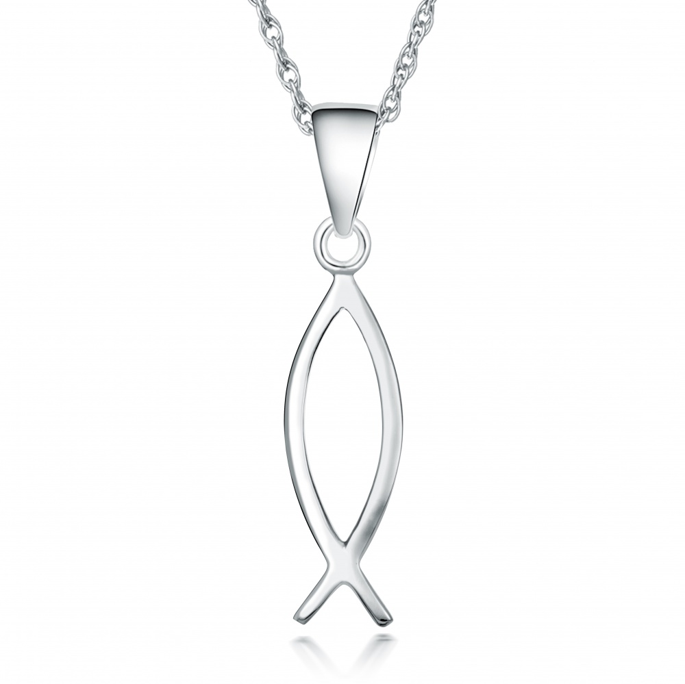 Christian jesus fish necklace 925 sterling silver ichthys for Jesus fish necklace