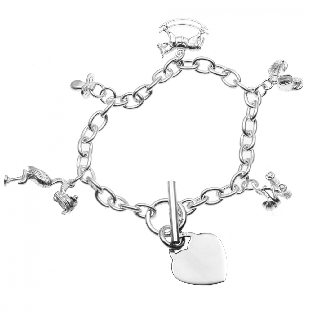 Baby Bangle Bracelets on New Baby  New Mum  Charm Bracelet With Heart   925 Sterling Silver