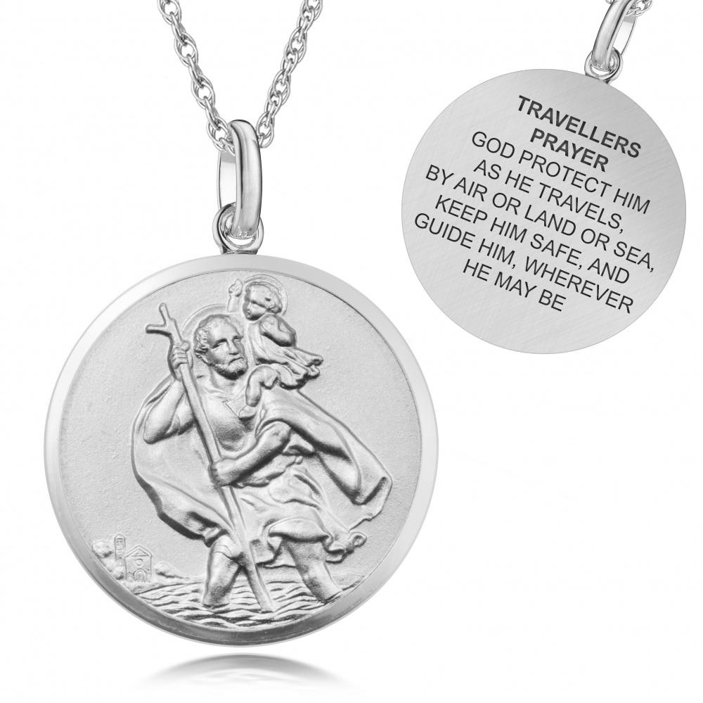 St Christopher Travellers Prayer Sterling Silver Antique
