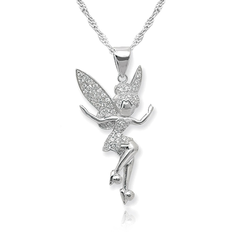 Tinkerbell Necklace Cubic Zirconia And Sterling Silver
