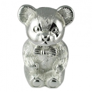 Teddy Bear Money Box Silver Plated