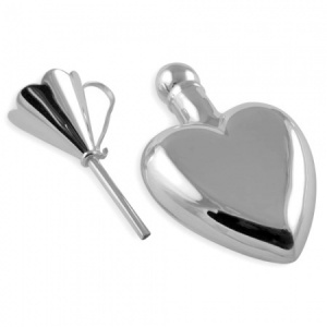 Heart Shaped Perfume Bottle with Funnel Sterling Silver (can be personalised)