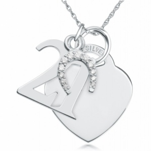 21st Birthday Sterling Silver Heart Necklace (can be personalised)
