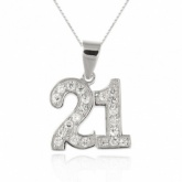 21st Birthday Sterling Silver & Cubic Zirconia Necklace