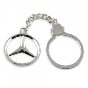 Mercedes Benz Logo/Badge Silver Plated Keyring