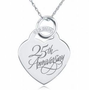 25th Anniversary Heart Shaped Sterling Silver Necklace (can be personalised)