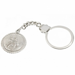 St Christopher Hallmarked Sterling Silver Keyring (can be personalised)