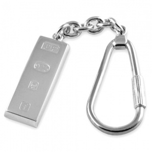 Ingot Feature Hallmarked Sterling Silver Keyring (can be personalised)