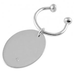 Diamond Set Oval Sterling Silver Screwball Keyring (can be personalised)