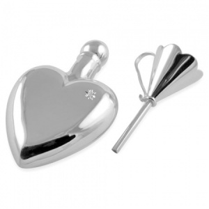 Diamond Set Heart Shaped Perfume Bottle with Funnel Sterling Silver (can be personalised)