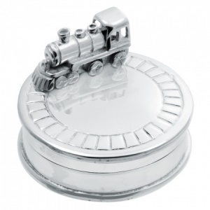 Train on Track Sterling Silver Pill Box (can be personalised)