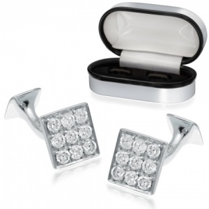 Cubic Zirconia and Sterling Silver Square Cufflinks (can be personalised)