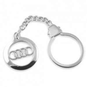 Audi Logo/Badge Hallmarked Sterling Silver Keyring