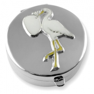 Stork & Baby Sterling Silver First Tooth or Keepsake Box