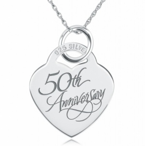 50th Anniversary Heart Shaped Sterling Silver Necklace (can be personalised)