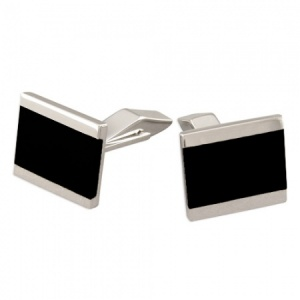 Black Onyx & Sterling Silver Cufflinks Lined (can be personalised)