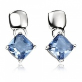 Light Blue Cushion Cut Crystal Sterling Silver Stud Earrings