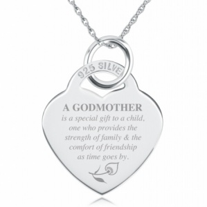 A Godmothers Love, Heart Shaped Sterling Silver Necklace (can be personalised)