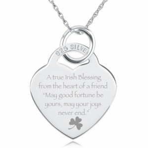 A True Irish Blessing Heart Shaped Sterling Silver Necklace (can be personalised)