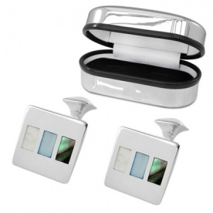 Abalone Shell & Mother of Pearl Square Sterling Silver Cufflinks (can be personalised)