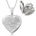 Angel in the Book of Life Heart Shaped Sterling Silver 4 Photo Locket (can be personalised)