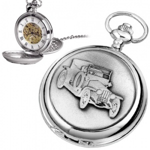 Old Classic Car Pewter Mechanical Skeleton Pocket Watch (can be personalised)