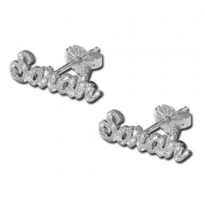 Any Name/Word Sterling Silver Sparkle Stud Earring (personalised)