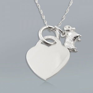Zodiac Aries Star Sign & Heart Sterling Silver Necklace (can be personalised)