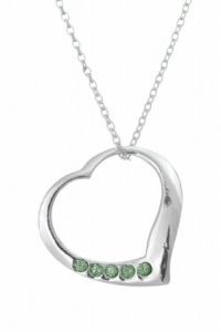 August Birthstone Open Heart Necklace - 925 Sterling Silver
