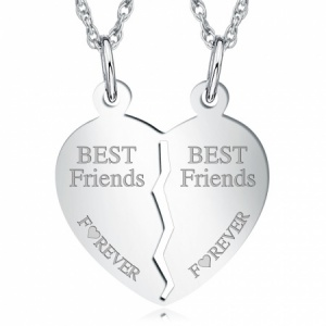 Best Friends Forever, Split Broken Heart Sterling Silver Necklace (can be personalised)