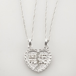 Best Friends Split Heart Shaped Sterling Silver Necklace (can be personalised)