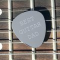 'Best Guitar Dad' Guitar Plectrum/Pick - Stainless Steel (Metal) Personalised/Engraved