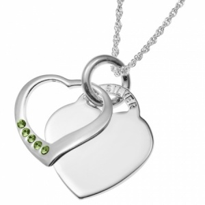 August Birthstone Sterling Silver Double Heart Necklace (can be personalised)