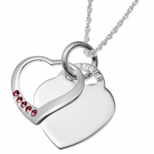 July Birthstone Sterling Silver Double Heart Necklace (can be personalised)