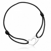 Black Cord and Sterling Silver Open Heart Adjustable Bracelet