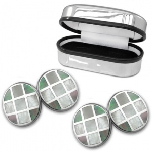 Double Sided Round Black Mother of Pearl Sterling Silver Cufflinks (can be personalised)