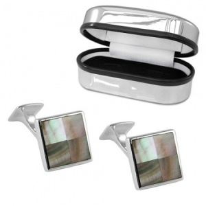 Black Shell Square Sterling Silver and Enamel Cufflinks (can be personalised)