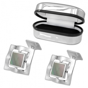 Black Shell Square Wave Sterling Silver and Enamel Cufflinks (can be personalised)