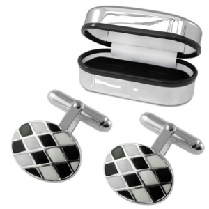 Black & White Chequered Enamel Sterling Silver Cufflinks (can be personalised)