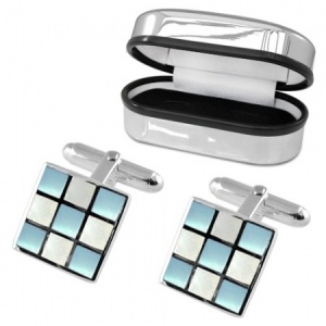 Blue & White Chequered Sterling Silver Cufflinks (can be personalised)