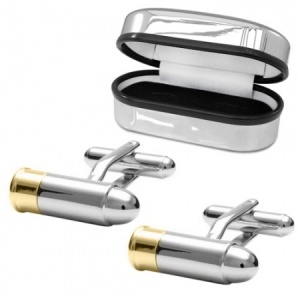 Bullet Cufflinks, Chrome & Brass (can be personalised)