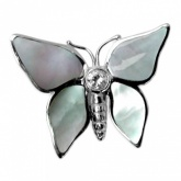 Butterfly Sterling Silver, Mother of Pearl with Single Cubic Zirconia Stone Brooch