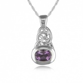 Celtic Style Oval Amethyst Sterling Silver Necklace