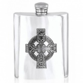 Celtic Cross 6oz Pewter Hip Flask (can be personalised)