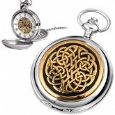 Celtic Knot Gold Plated & Pewter Mechanical Skeleton Pocket Watch (can be personalised)