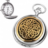 Celtic Knot Gold Plated & Pewter Quartz Pocket Watch (can be personalised)