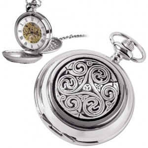 Never Ending Celtic Knot Pewter Mechanical Skeleton Pocket Watch (can be personalised)